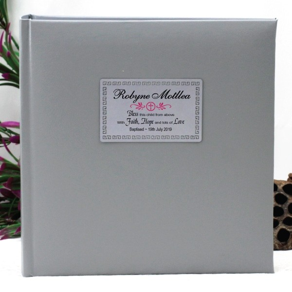 Image of Personalised Christening Silver Photo Album - 200{empty_space}