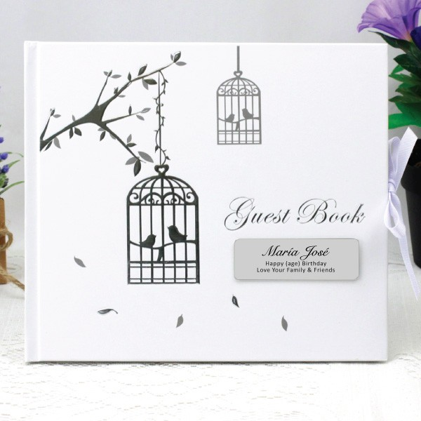 Image of Personalised 40th Birthday Guest Book - Bird Cage{empty_space}