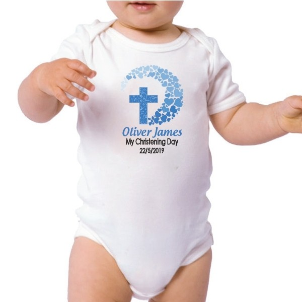 Image of Personalised Baby Boy Christening Bodysuit{empty_space}