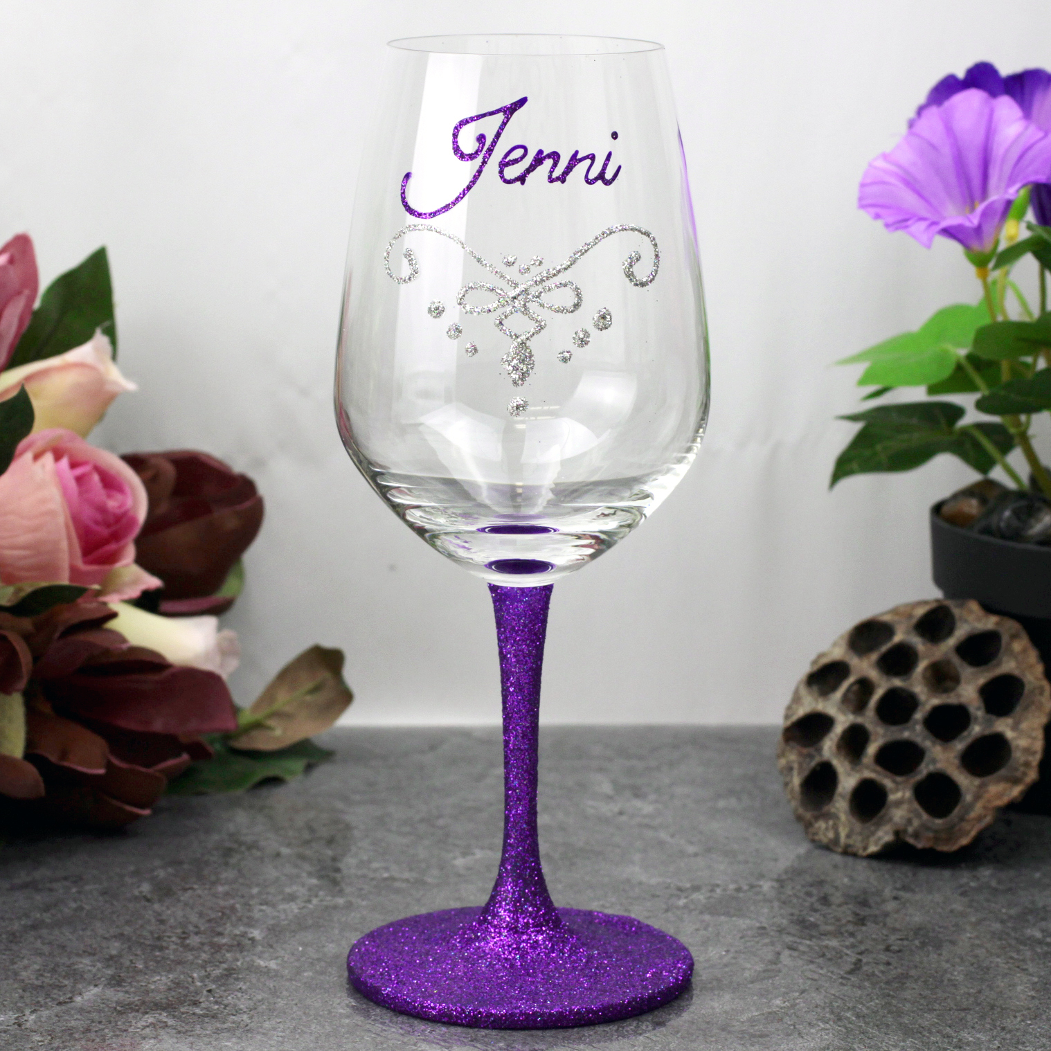 Image of Personalised Hand Painted Red Wine Glass{empty_space}
