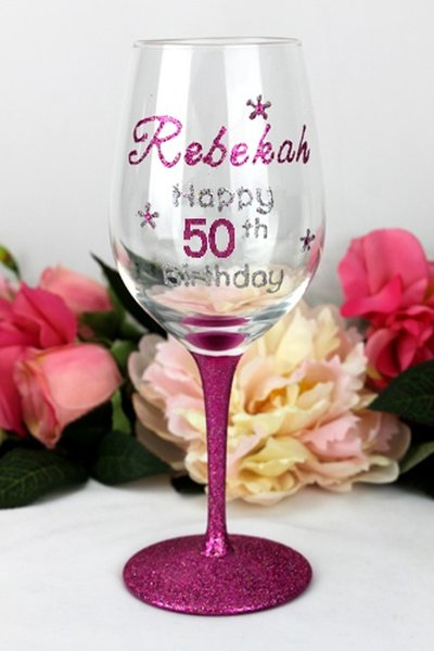 Image of Personalised Hand Painted Wine Glass{empty_space}