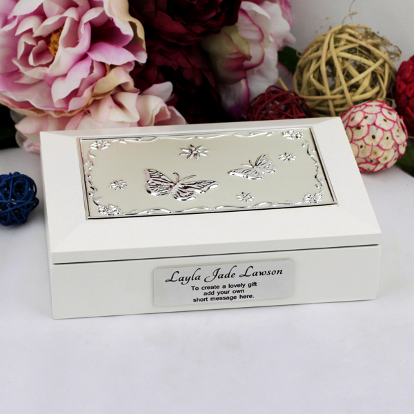 Image of Sister White Wood Jewel Box - Personalised Gift{empty_space}