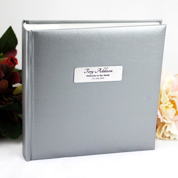 Image of Silver Baby Photo Album -Personalised Gift{empty_space}