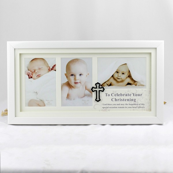 Image of Christening Collage Photo Frame - 3 Photo{empty_space}