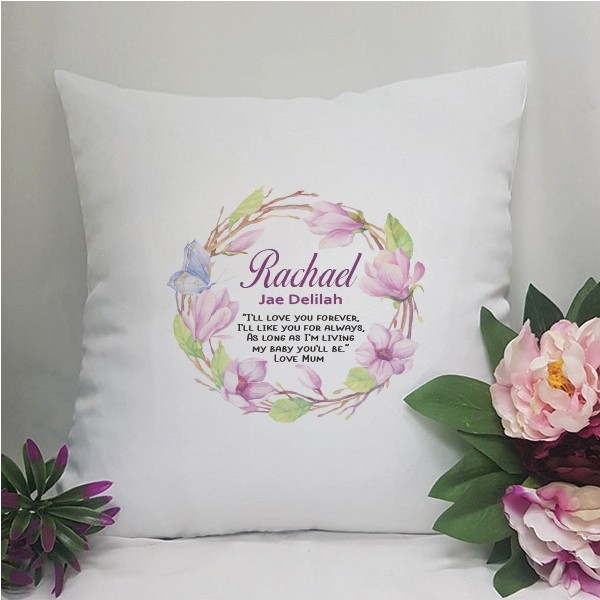 Image of Personalised Cushion Cover - Floral{empty_space}