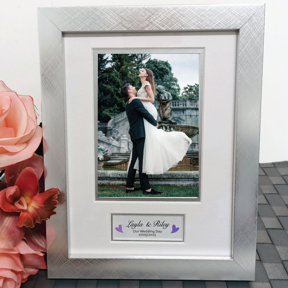 Wedding Photo Frame Silver Wood 4x6 Photo Personalised Engraved Gifts