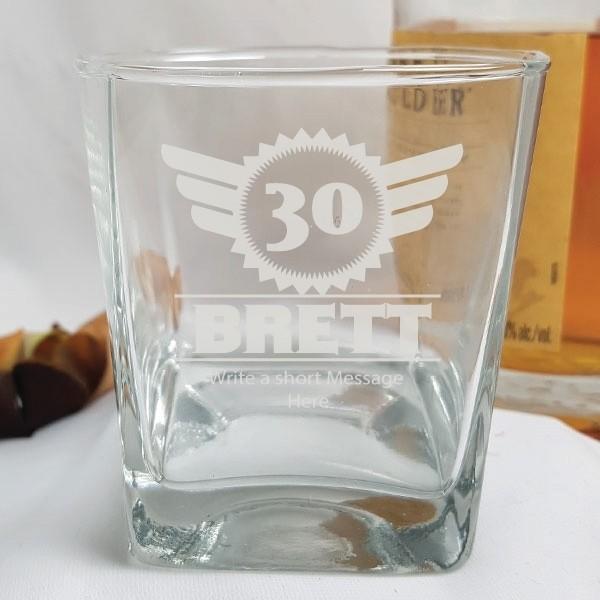 Image of 30th Birthday Custom Scotch Glass - Male Designs{empty_space}