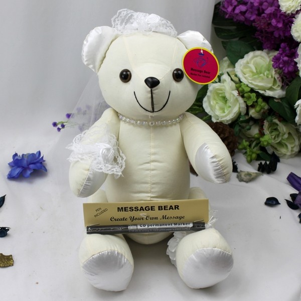 Image of Bride Signature Bear with Veil{empty_space}