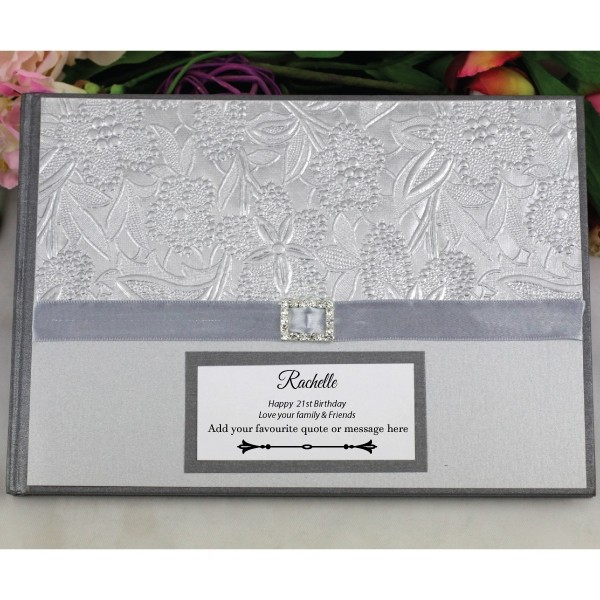 Image of 21st Birthday Guest Book Memory Album - Silver Floral{empty_space}