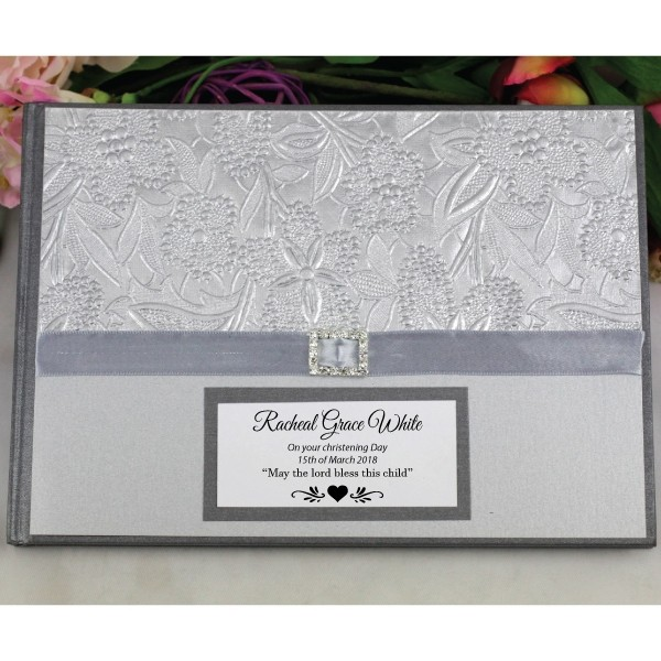 Image of Christening Guest Book Memory Album - Silver{empty_space}