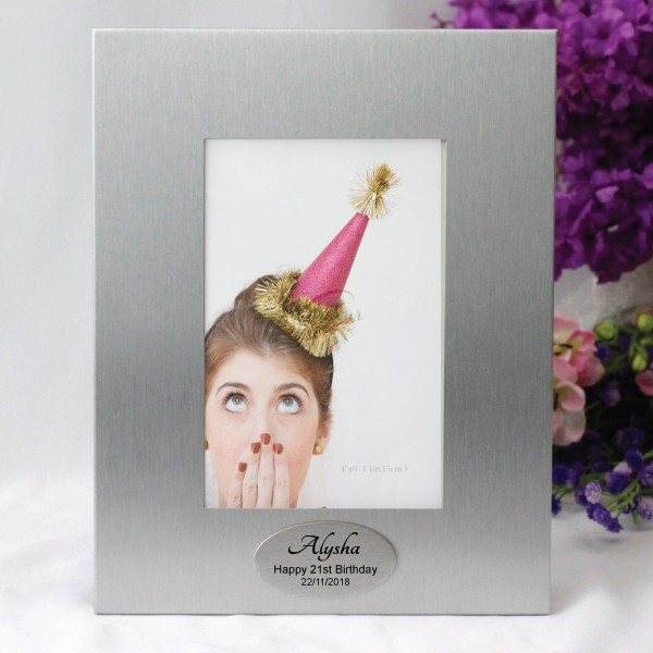 Image of Personalised 21st Birthday Silver Photo Frame{empty_space}