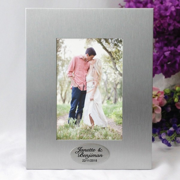 Image of Engagement Gift - Silver Photo Frame - Personalised{empty_space}