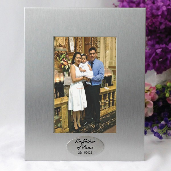 Image of Godfather Silver Photo Frame with Personalised Message{empty_space}