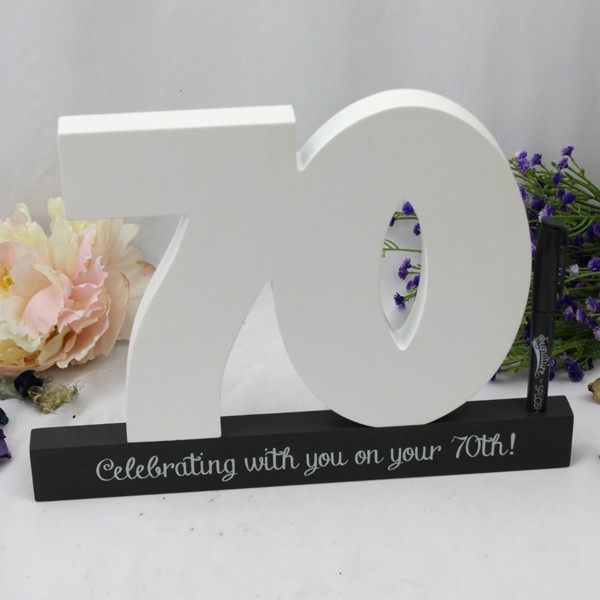 Image of 70th Birthday Signature Number Block{empty_space}