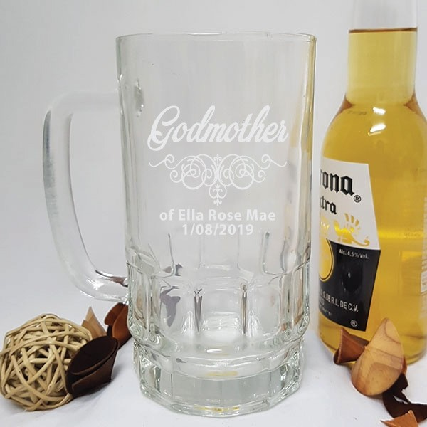 Image of Godmother Engraved Glass Beer Stein Gift{empty_space}