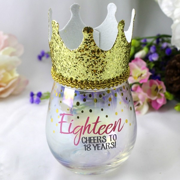 Image of 18th Stemless Wine Glass & Party Crown Gift{empty_space}