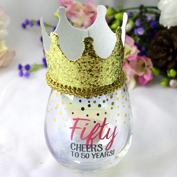 Image of 50th Stemless Wine Glass & Party Crown Gift{empty_space}