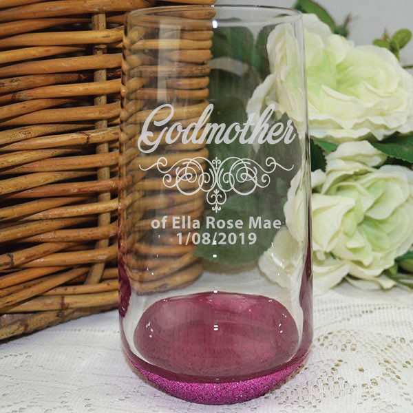 Image of Godmother Personalised Engraved Glass Tumbler Gift{empty_space}