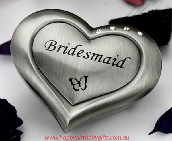 Image of Bridesmaid Pewter Heart Jewel Box{empty_space}