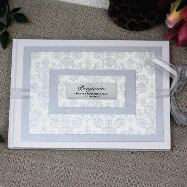 Image of Personalised Christening Guest Book- Baroque White{empty_space}