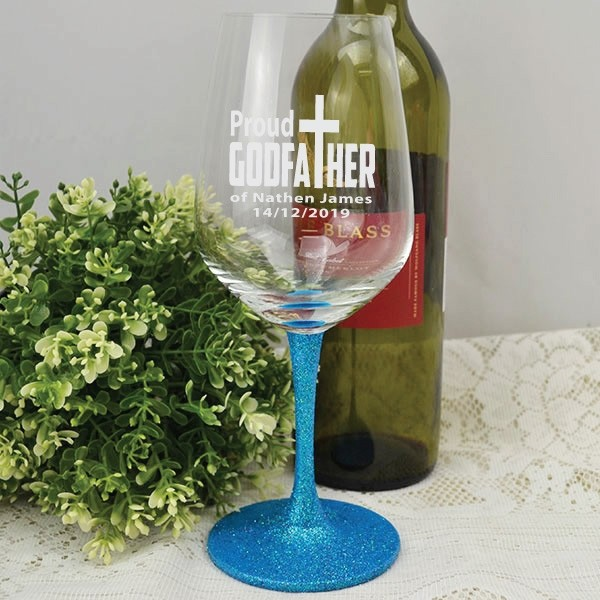 Image of Godfather Gift - Engraved Red Wine Glass{empty_space}