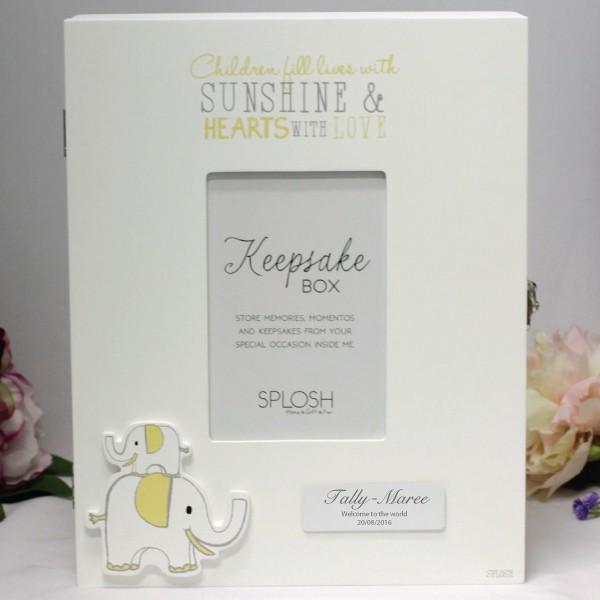 Image of Personalised Baby Keepsake Box - Elephant{empty_space}
