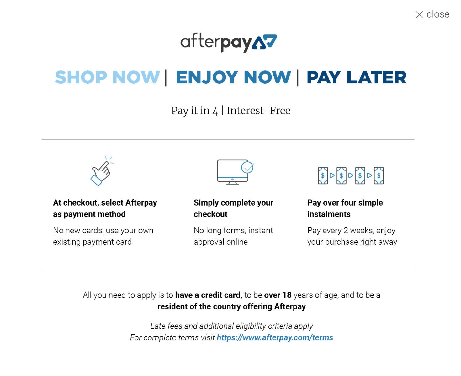 afterpay - buy now - pay later