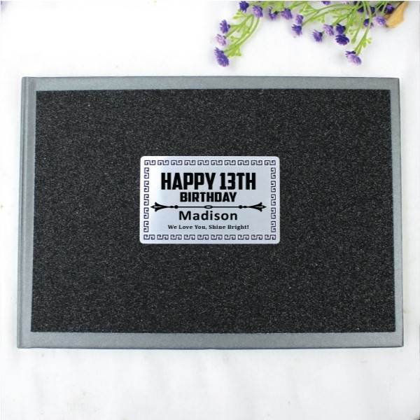 Image of 13th Birthday Black Glitter Guest Book Memory Album