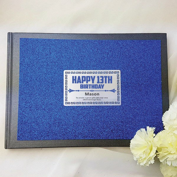 Image of 13th Birthday Blue Glitter Guest Book Memory Album