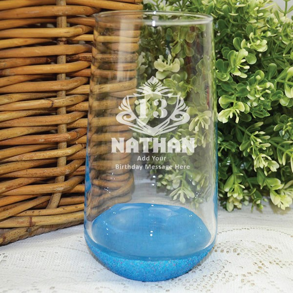 Image of 13th Birthday Engraved Glass Tumbler - Male Gift