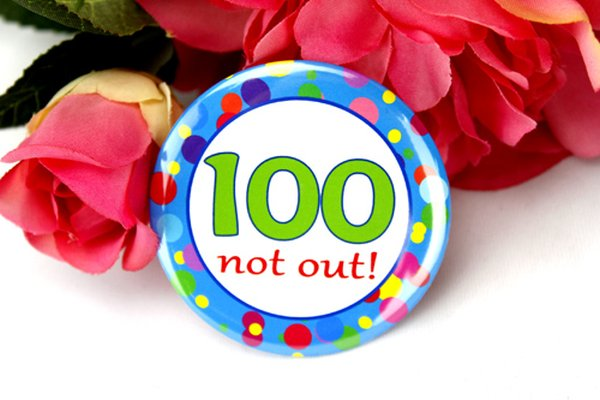 Image of 100th Birthday Party Badge - Blue Spots